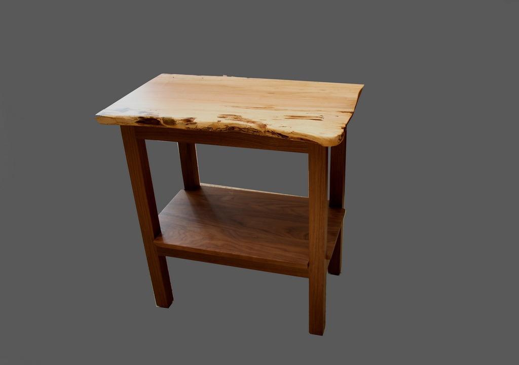live edge maple end table walnut base