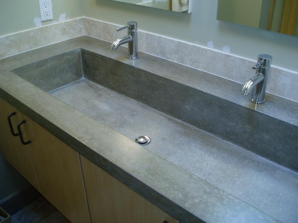 Picture of: Gray Concrete Bathroom Trough Sink